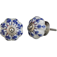 IndianShelf Handmade 4 Piece Ceramic Blue Long Leaf Artistic Drawer Knobs/Cabinet Pulls
