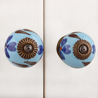 IndianShelf Handmade 4 Piece Ceramic Multicolor Day Flower Artistic Drawer Knobs/Cabinet Pulls