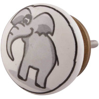 IndianShelf Handmade 6 Piece Ceramic Grey Elephant Flat Kid Decorative Dresser Knobs/Cabinet Pulls