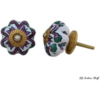 IndianShelf Handmade 6 Piece Ceramic Purple Floral Vintage Furniture Knobs/Wardrobe Pulls