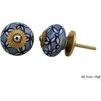 IndianShelf Handmade 6 Piece Ceramic Grey Leaf Vintage Furniture Knobs/Wardrobe Pulls