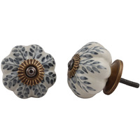 IndianShelf Handmade 6 Piece Ceramic Grey Leaf Decorative Dresser Knobs/Cabinet Pulls