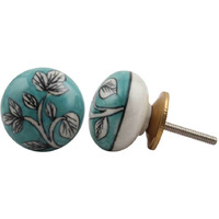 IndianShelf Handmade 6 Piece Ceramic White Leaf Flat Vintage Furniture Knobs/Wardrobe Pulls