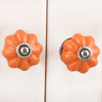 IndianShelf Handmade 6 Piece Ceramic Orange Solid Artistic Designer Drawer Knobs/Cabinet Pulls