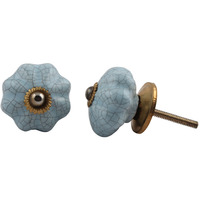 IndianShelf Handmade 6 Piece Ceramic Blue Crackle Vintage Furniture Knobs/Wardrobe Pulls