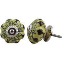 IndianShelf Handmade 6 Piece Ceramic Yellow Melon Decorative Dresser Knobs/Cabinet Pulls