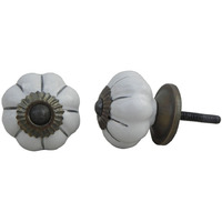 IndianShelf Handmade 6 Piece Ceramic White Solid Vintage Furniture Knobs/Wardrobe Pulls