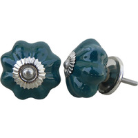 IndianShelf Handmade 6 Piece Ceramic Green Melon Solid Vintage Furniture Knobs/Wardrobe Pulls