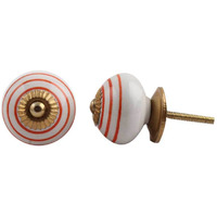 IndianShelf Handmade 6 Piece Ceramic White Stripe Vintage Furniture Knobs/Wardrobe Pulls