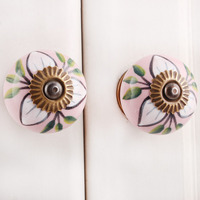 IndianShelf Handmade 6 Piece Ceramic White Leaf Artistic Designer Drawer Knobs/Cabinet Pulls