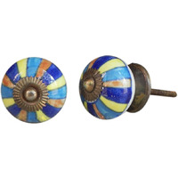 IndianShelf Handmade 6 Piece Ceramic Multicolor Rangoli Vintage Furniture Knobs/Wardrobe Pulls