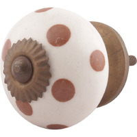 IndianShelf Handmade 8 Piece Ceramic Brown Dotted Decorative Room Drawer Knobs/Cabinet Door Pulls