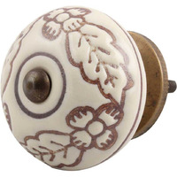 IndianShelf Handmade 8 Piece Ceramic Cream Leaf Flower Etched Artistic Drawer Knobs/Cabinet Pulls