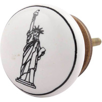 IndianShelf Handmade 8 Piece Ceramic Black Statue Of Liberty Kid Artistic Drawer Knobs/Cabinet Pulls