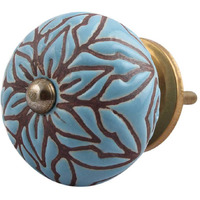 IndianShelf Handmade 8 Piece Ceramic Turquoise Amarylis Floral Etched Home Decor Dresser Knobs/Wardrobe Cabinet Pulls