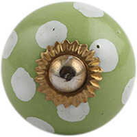 IndianShelf Handmade 8 Piece Ceramic Green Polka Dot Home Decor Dresser Knobs/Wardrobe Cabinet Pulls