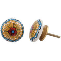 IndianShelf Handmade 8 Piece Ceramic Multicolor Sunflower Flat Home Decor Dresser Knobs/Wardrobe Cabinet Pulls