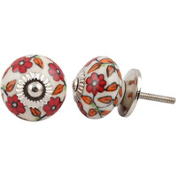 IndianShelf Handmade 8 Piece Ceramic Red Tiny Flower Decorative Room Drawer Knobs/Cabinet Door Pulls