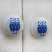IndianShelf Handmade 8 Piece Ceramic Blue Owl Flat Kid Artistic Drawer Knobs/Cabinet Pulls