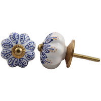 IndianShelf Handmade 8 Piece Ceramic Blue Leaf Home Decor Dresser Knobs/Wardrobe Cabinet Pulls