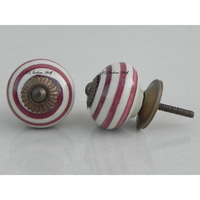 IndianShelf Handmade 8 Piece Ceramic Cherry Stripe Artistic Drawer Knobs/Cabinet Pulls