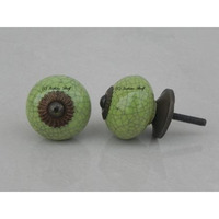 IndianShelf Handmade 8 Piece Ceramic Green Crackle Artistic Drawer Knobs/Cabinet Pulls