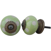 IndianShelf Handmade 8 Piece Ceramic Green Etched Artistic Drawer Knobs/Cabinet Pulls
