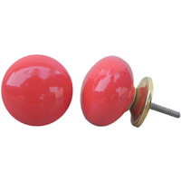 IndianShelf Handmade 8 Piece Ceramic Red Solid Home Decor Dresser Knobs/Wardrobe Cabinet Pulls