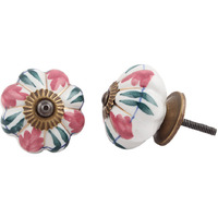 IndianShelf Handmade 8 Piece Ceramic Pink Flower Decorative Room Drawer Knobs/Cabinet Door Pulls