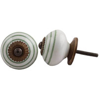 IndianShelf Handmade 8 Piece Ceramic White Stripe Artistic Drawer Knobs/Cabinet Pulls