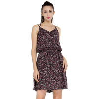 Floral Printed Black Rayon Skater Dress-S