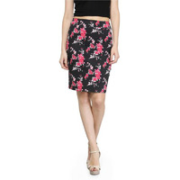 Black Cotton stretchable Pencil Skirt with Pink Floral print for Womens