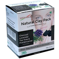 Natural Clay Pack Charcoal, Lavender, Tea Tree & Frankincense 100g
