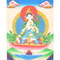 (Tibetan Buddhist) Sapta-Lochani Goddess White Tara Who Bestows The Special Gift of Long Life on Her Devotees