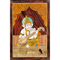 Lord Ganesha Playing Veena (Unframed)