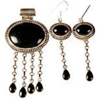 Black Onyx Cascade Pendant with Matching Earrings Set