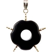 Black Onyx Donut Pendant with Spikes