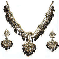 Black Kundan Beaded Necklace Set with Earrings