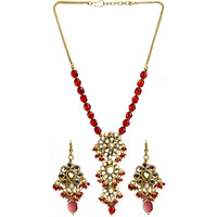 Red Beaded Kundan Ne ...