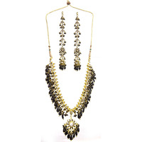 Black Kundan Necklace Set with Earwrap Earrings