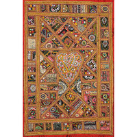 Antiquated Wall Hanging from Kutch with Rabari Embroidery and Mirrors