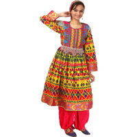 Afghan Suit with Flared Skirt, Multi-Coloured Embroidery and Bead-Work