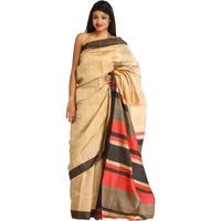 Almond-Buff Plain Sari from Bengal with Woven Stripes on Aanchal