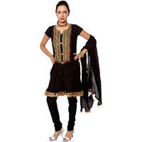 Black Designer Choodidaar Suit with AppliquC) Work