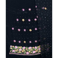 Black Salwar Kameez Fabric from Lucknow with Floral Embroidery and Beads