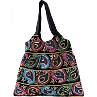 Black Gujarati Shopper Bag with Embroidered Paisleys