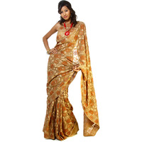 Antelope-Brown Sari with Densely Embroidered Flowers and Leaves