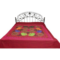 Biking-Red Gujarati Elephant Bedspread with Emrboidery and Sequins