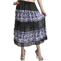 Black Midi-Skirt wit ...