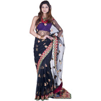 Black Bridal Sari with All-Over Ari Embroidered Paisleys and Patch Border